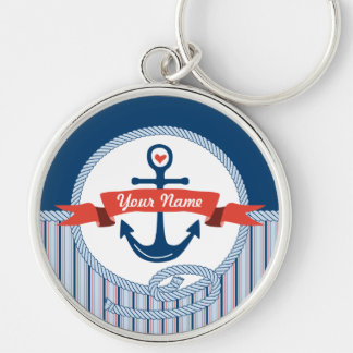 Nautical Anchor Rope Ribbon Stripes Red White Blue Keychains