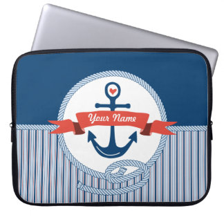 Nautical Anchor Rope Ribbon Stripes Red White Blue Laptop Sleeves