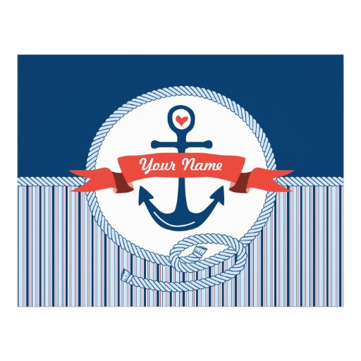 Nautical Anchor Rope Ribbon Stripes Red White Blue Customized Letterhead