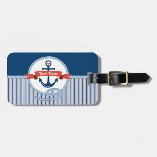 Nautical Anchor Rope Ribbon Stripes Red White Blue Tag For Luggage
