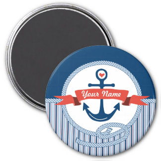 Nautical Anchor Rope Ribbon Stripes Red White Blue Refrigerator Magnet