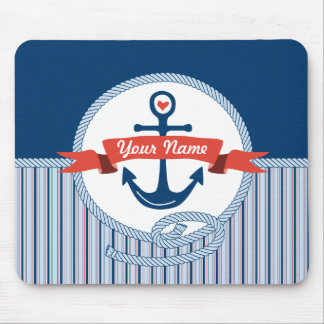 Nautical Anchor Rope Ribbon Stripes Red White Blue Mousepads