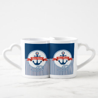 Nautical Anchor Rope Ribbon Stripes Red White Blue Couples' Coffee Mug Set