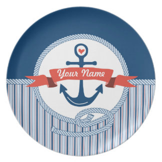 Nautical Anchor Rope Ribbon Stripes Red White Blue Dinner Plates