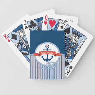 Nautical Anchor Rope Ribbon Stripes Red White Blue Bicycle Card Decks