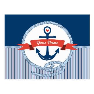 Nautical Anchor Rope Ribbon Stripes Red White Blue Postcard