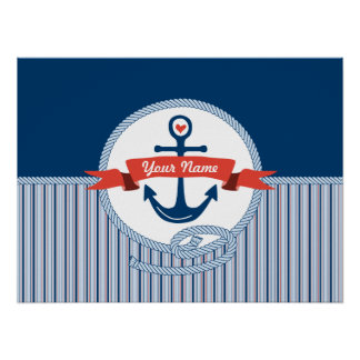 Nautical Anchor Rope Ribbon Stripes Red White Blue Print