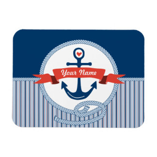 Nautical Anchor Rope Ribbon Stripes Red White Blue Rectangular Magnets