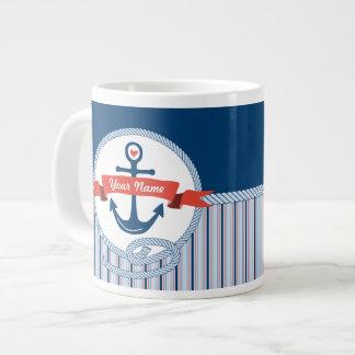 Nautical Anchor Rope Ribbon Stripes Red White Blue Extra Large Mug