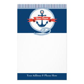 Nautical Anchor Rope Ribbon Stripes Red White Blue Custom Stationery