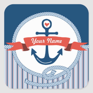 Nautical Anchor Rope Ribbon Stripes Red White Blue Sticker