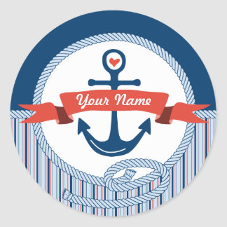 Nautical Anchor Rope Ribbon Stripes Red White Blue Round Sticker