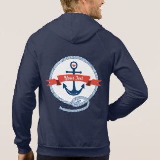 Nautical Anchor Rope Ribbon Stripes Red White Blue Hooded Sweatshirt