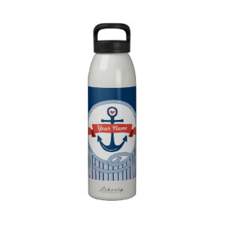 Nautical Anchor Rope Ribbon Stripes Red White Blue Reusable Water Bottles