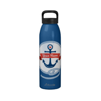 Nautical Anchor Rope Ribbon Stripes Red White Blue Water Bottle