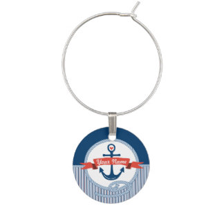 Nautical Anchor Rope Ribbon Stripes Red White Blue Wine Glass Charms