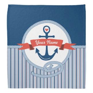 Nautical Anchor Rope Ribbon Stripes Red White Blue Kerchief