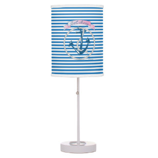 Nautical Anchor, Rope, Sailing, Stripes, Modern Table Lamp