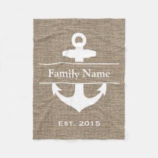 Nautical Anchor Rustic Burlap Family Name Fleece Blanket