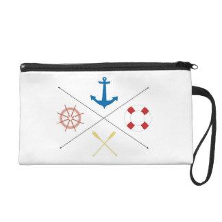 Nautical Anchor Sail Sailin Make Up Bag Tote Purse Wristlet Clutch