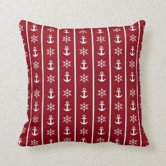 Nautical Anchor Sailing Stripe Pattern | Red White Throw Pillow