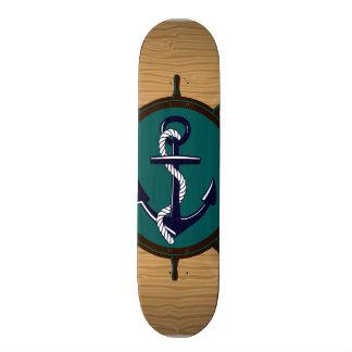 Nautical Anchor Ships Wheel Helm Sailor Design Skateboard