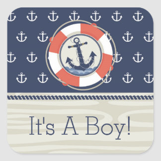 Nautical Anchor Square Baby Shower Sticker