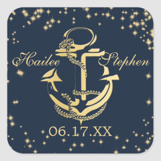 Nautical Anchor Starry Sky Square Sticker