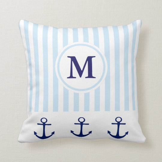 Nautical Anchor Stripe Monogram Initial Pillow