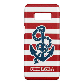 Nautical Anchor Stripe Pattern and Name Case-Mate Samsung Galaxy S8 Case