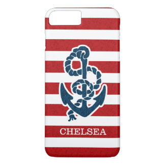Nautical Anchor Stripe Pattern and Name iPhone 7 Plus Case