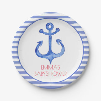 Nautical Anchor | Striped Babyshower Paper Plate