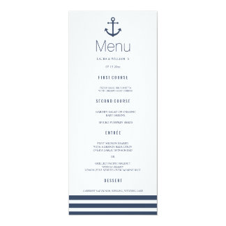 Nautical Anchor & Striped Wedding Dinner Menu Card