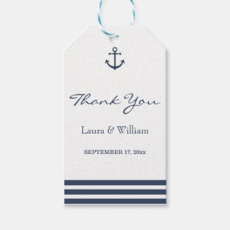 Nautical Anchor & Striped Wedding Gift Tags Pack Of Gift Tags