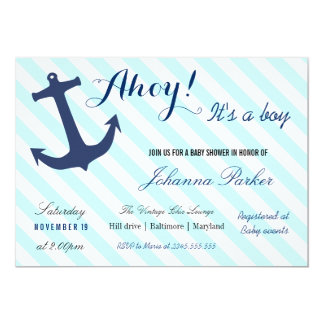 Nautical Anchor Stripes Its A Boy Baby Shower Card