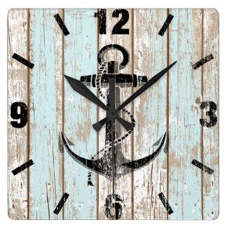 Nautical Anchor Stripes Wood Wall Clocks