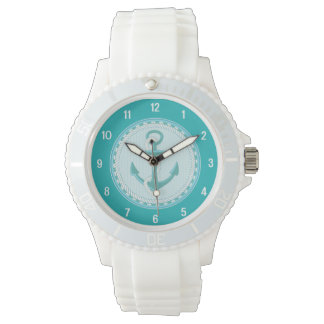 Nautical Anchor Teal Aqua Sporty Watch