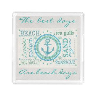 Nautical Anchor Typography Beach Perfume Tray