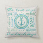 Nautical Anchor Typography Beach Throw Pillow
