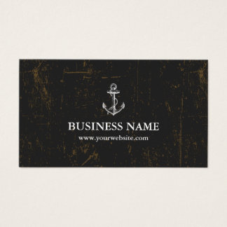 Nautical Anchor Vintage Grunge Dark Business Card