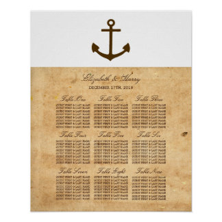 Nautical Anchor Vintage Paper Seating Chart Poster