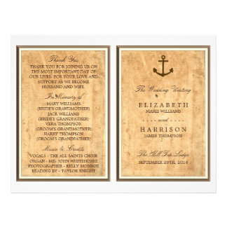 Nautical Anchor Vintage Paper Wedding Program
