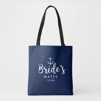 Nautical Anchor Wedding Bride's Mates Bridesmaids Tote Bag