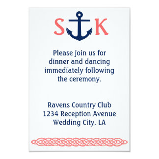 Nautical Anchor Wedding Invitation Enclosure Coral