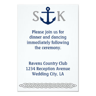 Nautical Anchor Wedding Invitation Enclosure Gray