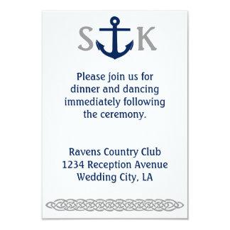 Nautical Anchor Wedding Invitation Enclosure Grey