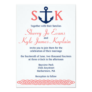 Nautical Anchor Wedding Invitation Navy and Coral