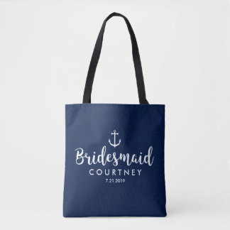 Nautical Anchor Wedding Personalized Bridesmaid Tote Bag