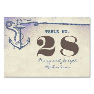Nautical Anchor Wedding Table Number Card Table Cards