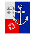 Nautical Anchor- Welcome Friends Poster